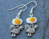 Chicken and Egg earrings - happy hen and lamp work glass fried egg - hypoallergenic silver plated surgical steel hooks -Free Shipping USA