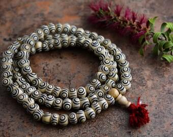 Inner Circle Mala: Beautiful Black and White Hand Carved Mala, 13mm Bone Beads made in Nepal / 108 Prayer Beads / Tibetan Malas, Meditation
