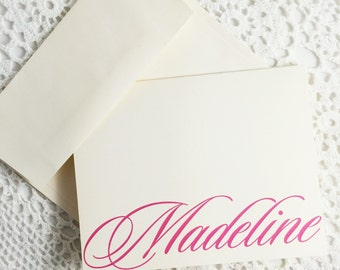 Letterhead Note Cards Stationery with Name Personalized Blank Notes Thank You Cards by Lime Green Rhinestones