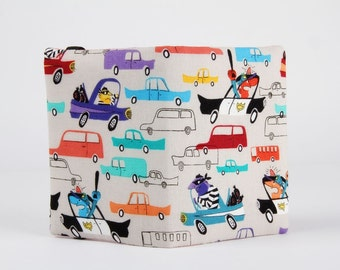 Fabric card holder - Pursuit / Police cars / Criminals Robber Thief / Funny prisonner / grey teal green orange burgundy / Samarra Khaja