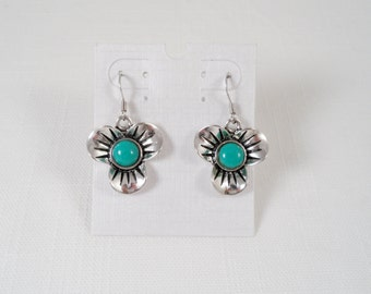 Silver Tone Faux Turquoise Dangle Earrings