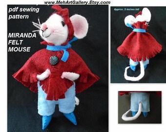 Pdf SEWING PATTERN - Miranda Mouse,  Felt Miniatures, Soft Sculpture Stuffed Fiber Art, Plushie,  plush animal,  Instant Download