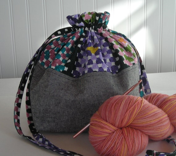 Crochet Project Bag : Crochet Project Bag - knitting bag - small drawstring bag - granny ...