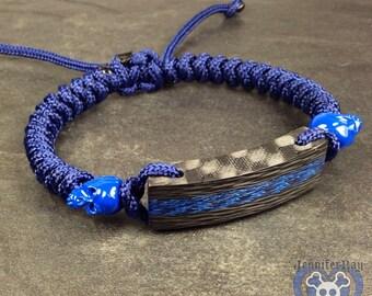 Blue Core with Black Carbon Fiber Snake Adjustable Bracelet with 2 Blue Powder coated skull beads