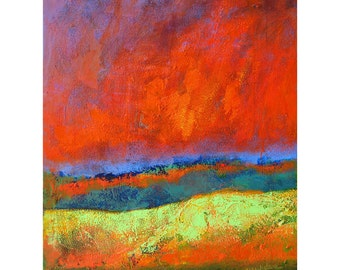 Abstract Hills, Red Sky, Abstract Landscape, Modern Art Print, Contemporary Art, Modern Painting, Bright Colors, Abstract Wall Decor, 14 x11