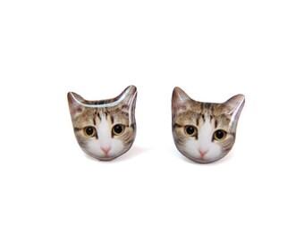 Big Eye Tabby Cat Kitten Stud Earrings - A025ER-C32   Made To Order