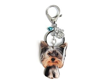Yorkie Terrier Puppy Dog Shaking Head Keychain / Bag Charm - SB050-G-BD10