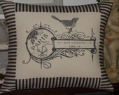 French Post Card Bird Pillow with Black and Off White Ticking Stripe, Bird Throw Pillow Cover, Mademoiselle Fifi
