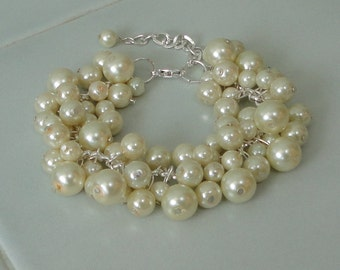 a PICK Your COLOR BRIDESmaids Gift Ivory Pearl Cluster BRIDal WEDDing Special Occasion Bracelet By DYEnamite