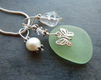 Sea Glass Necklace Butterfly Pearl Beach Seaglass