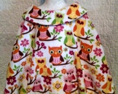 Fleece Poncho, multi-colored Owl design, front hand pocket,  size M
