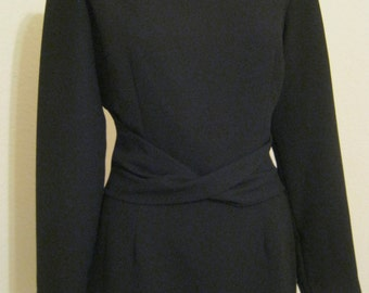 Vintage 80s classic little black long sleeved dress, size 8 LBD, black Maggie London dress, knee length black dress, black poly crepe dress