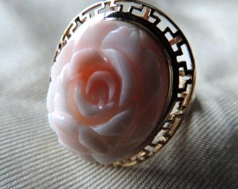 14k gold carved rose ring