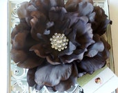 NEW ITEM----Boutique Rhinestone Large Peony Hair Clip or Brooch-------Brown--------
