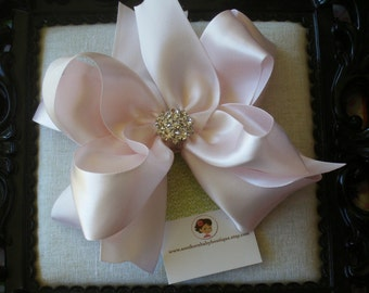 NEW ITEM----Big Boutique Doubled Layered Satin Hair Bow Clip with Rhinestones---Pale Pink---Material Girl