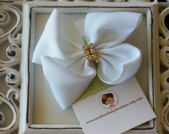 INVENTORY BLOWOUT SALE----Baby Toddler Girl Rhinestone Hair Bow 2.5 inch----White