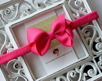 New Item----Boutique Baby Girl Hair bow Dainty Headband-----Shocking Pink----Makes a Perfect Gift