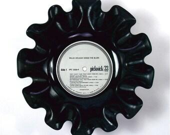 Billie Holiday Vinyl Record Bowl Vintage LP Album 1973 (Billie Holiday Sings the Blues) Silver Label
