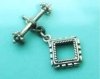 Sterling Silver Square Toggle,  925 Silver Artisan Crafted Clasp, 10x9mm, Bar 16x3mm, 1 set