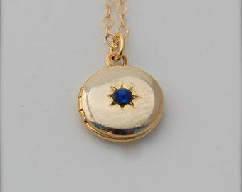 Locket Jewelry Bridesmaid Gifts Birthstone Jewelry Necklace Mini Lockets Tiny Locket Necklace Royal Blue Cobalt Stone Aquamarine Gold Filled