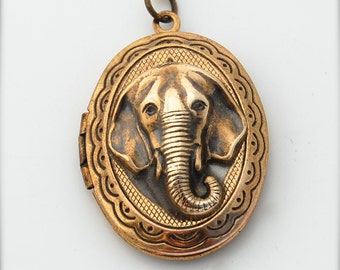 Locket Necklace Elephant Head Mounted Animal Head Jewelry Necklace Brass Gold Unique Gifts