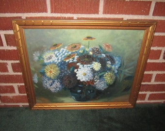 Vintage 1940s Lovely 22x18 Framed Original Floral Still Life Painting