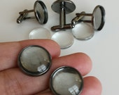 20 pcs Combo ( 5 pairs) - Gunmetal Black Brass Round bezel cufflink base Blank with Glass tile inserts Cadmium free