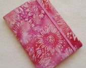 Batik Covered Pocket Memo Book, PINK SUNFLOWERS , Refillable Mini Composition Notebook Cover in Salmon Pink Floral Batik