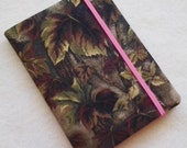 Batik Covered Pocket Memo Book, CAMO and PINK, Refillable Mini Composition Notebook Cover in Realistic Leaf Print