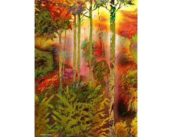 Forest Fine Art Painting, Mixed Media, Trees Woods, Olive Green Orange, Landscape Wall Hanging, Office or Home Decor, Giclee Print