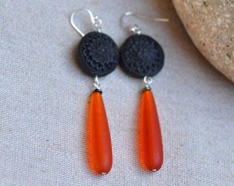 Orange Sea Glass Oriental Silver Earrings. Bright Orange  - Black Frosted Sea Glass Teardrops Earrings. Black Carved Cinnabar.