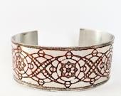 Aluminum Cuff, Red Etched Cuff Bracelet