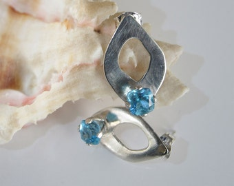 Topaz Earrings: Swiss Blue on Sterling Silver Studs