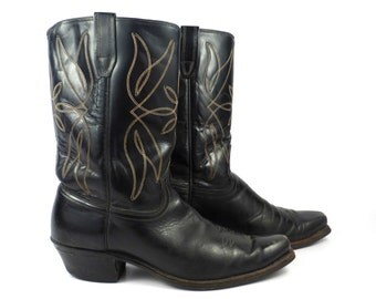 Men Cowboy Boots Vintage 1970s  Leather Black Size 9 1/2