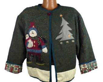 Ugly Christmas Sweater Vintage CardiganSnowman Jacket Holiday Tacky Women's