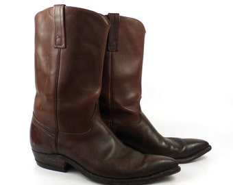 Men's Cowboy Boots Vintage 1970s Justin Dark Brown size 10 D