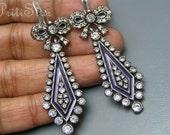 Vintage Victorian revival  Earrings Sterling Silver Cobalt Blue Enamel Paste Dangle Jewelry