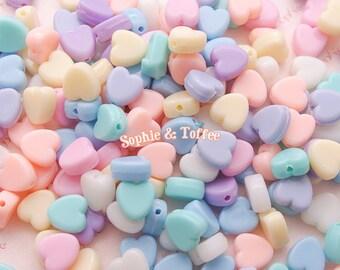 Pastel Heart Beads (9mm) - Small Hole / Acrylic Beads / Pastel Beads - 50g (207pcs approx.)
