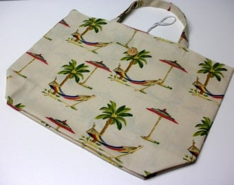 Fold Up Fabric Tote Bag - Shopping Bag - Market Bag -  Replaces Plastic Bags - Eco Friendly -Tropical Print