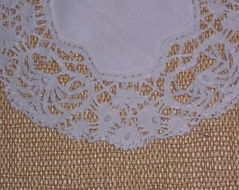Antique Linen Doily with a Hand Made Lace Edge