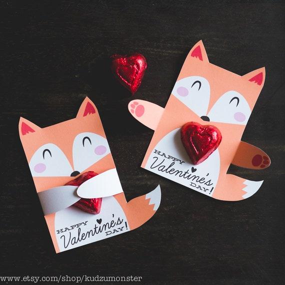 Woodland Fox Classroom Candy Holder valentines cute animals hug