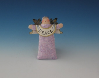 Angel Doll, Angel Ornament, Lilac Sparkly Angel of Peace, Peace Angel, Primitive Angel Doll