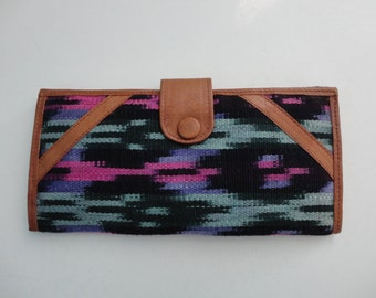 VINTAGE space dyed fabric and leather WALLET