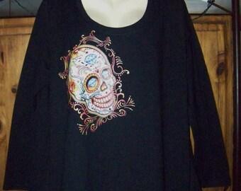 Plus Size Sugar Skull, Plus Size 3X T-Shirt, Gothic Tee, Goth Plus, Plus Size Gothic, Women's Plus Size 3X, Plus Clothing