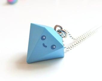 Kawaii Diamond Charm Necklace - Blue Diamond - 3D Charm