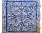 Blue Paisley Handkerchief - Vintage 1950's with a Hand Sewn Edge