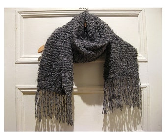 Hand knitted scarf grey gray -winter scarf- neckwarmer- stocking stuffer -holiday gifts - gifts for her -scarf neckwarmer by ECOCENTRIK