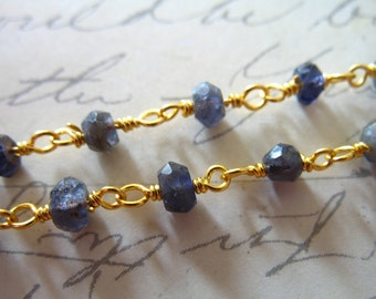Gemstone Rosary Chain, IOLITE, Wire Wrapped Chain, 5 ft, Beaded Gemstone Chain, Silver or Gold Plated, Wholesale Bulk Chain rc.6