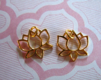 1 5 10 pc, LOTUS Charms Pendants, Sterling Silver or 24k Gold Vermeil LOTUS Flower Outline, 11x11 mm, Small Lotus, artisan yoga art sl solo