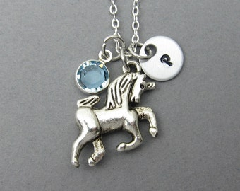 Unicorn Necklace - Handstamped Initial, Customized birthstone, Personalized Name